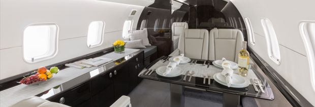private jet Global Express interior
